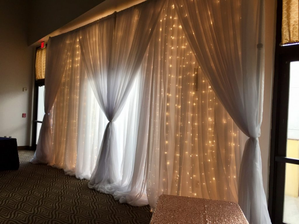 Twinkle Light Curtain with White Sheer Draping - Side View