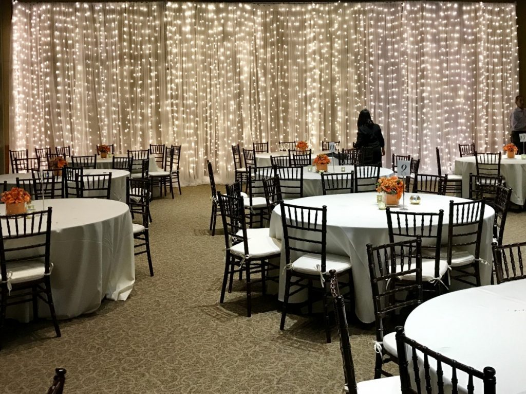 Lighted Twinkle Curtain with White Sheer Wall Draping
