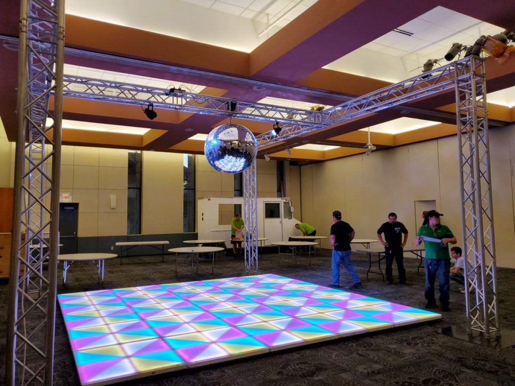 Truss Supported Disco Ball with LED Dancefloor