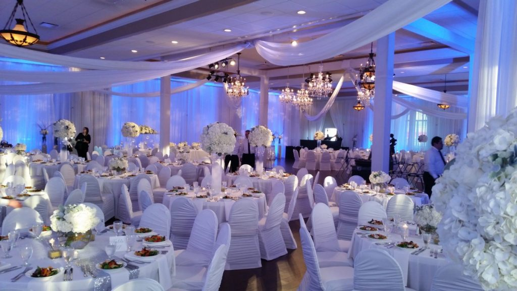 White Rouche Chair Covers