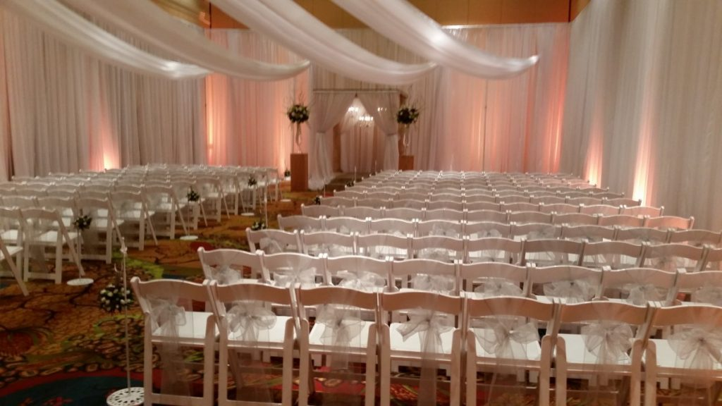 Folding Chairs with Sheer Tied Sash
