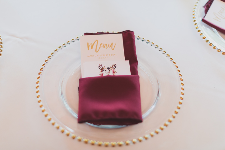 Gold Glass Beaded Charger with Raspberry Napkin