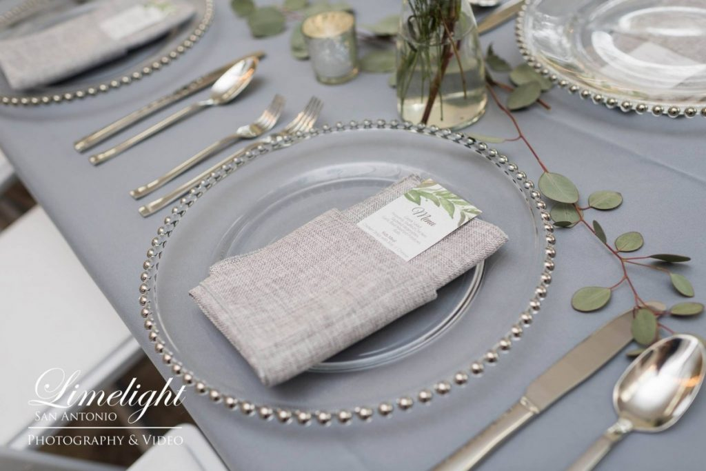 Silver Glass Beaded Charger with Gray Polyester Tablecloth