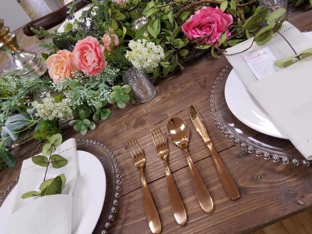 Rose Gold Flatware on Farm Tables