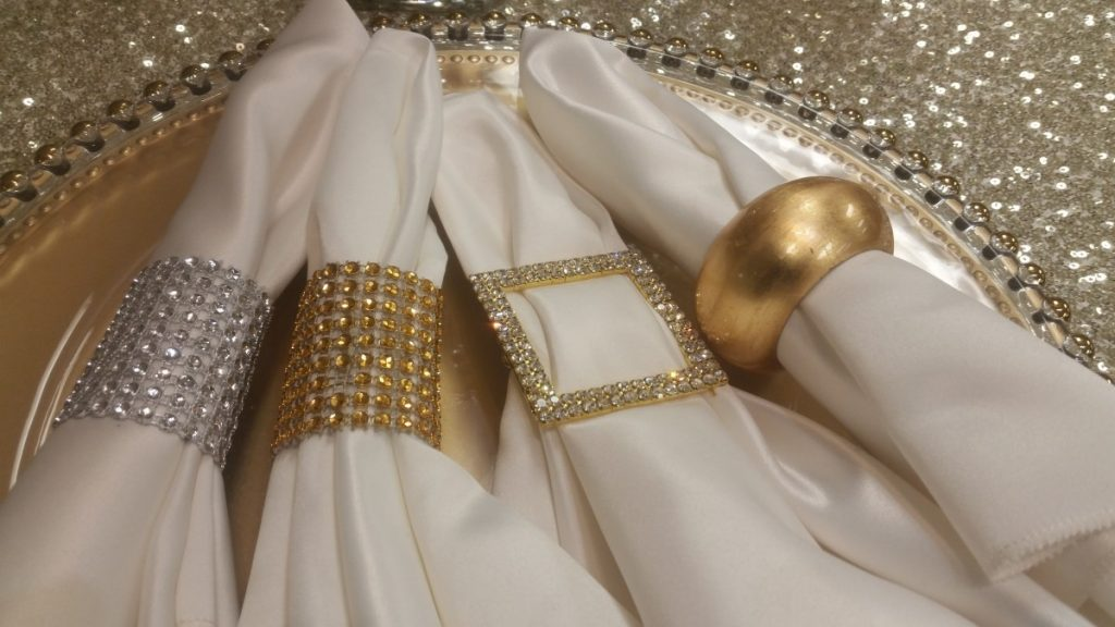 Silver & Gold Glitz Napkin Wrap, Gold Buckle, and Gold Ring