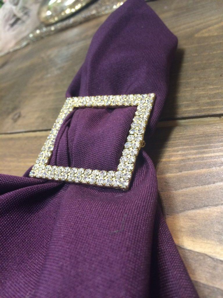 Purple Polyester Napkin with Glitz Napkin Ring