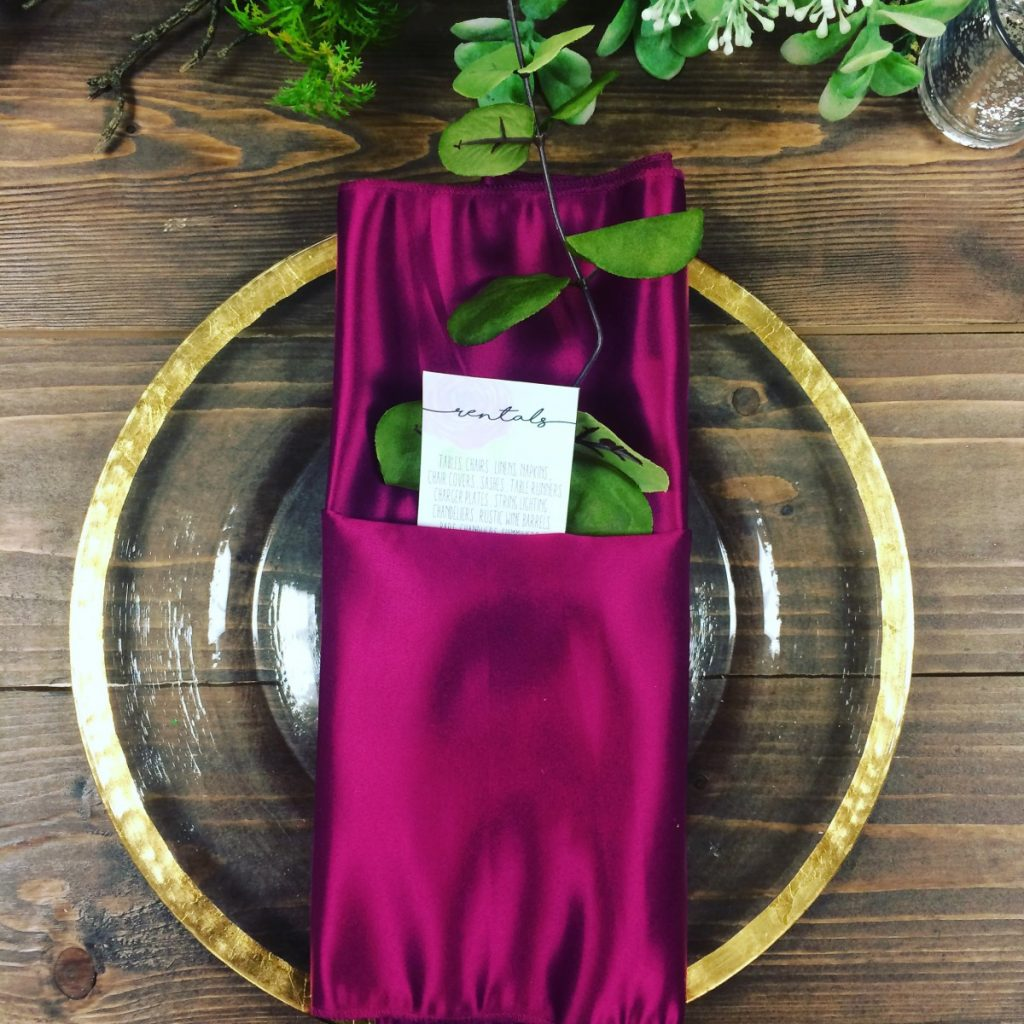 Magenta Lamour Napkin with Gold Rim Charger