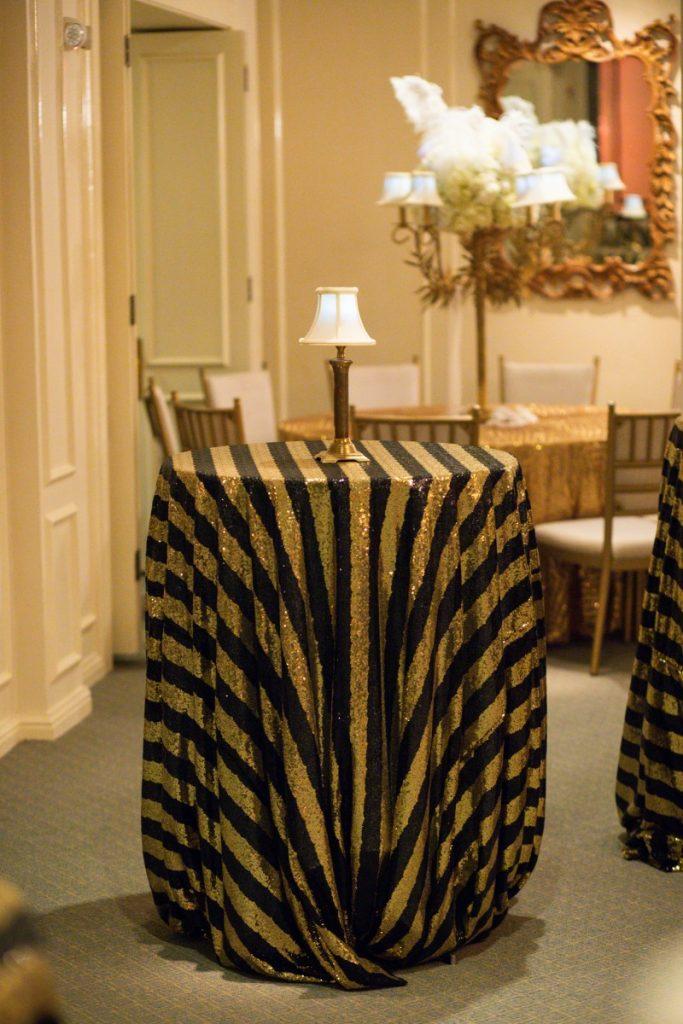 Black/Gold Stripe Sequin Table Linen - Parish Photography