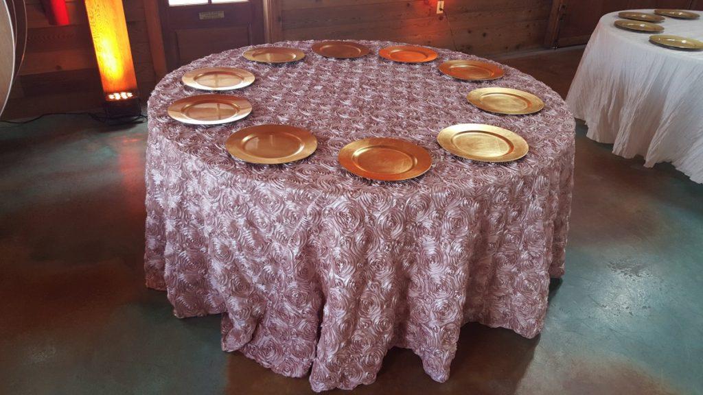 Blush Rosette Taffeta Tablecloth Linen