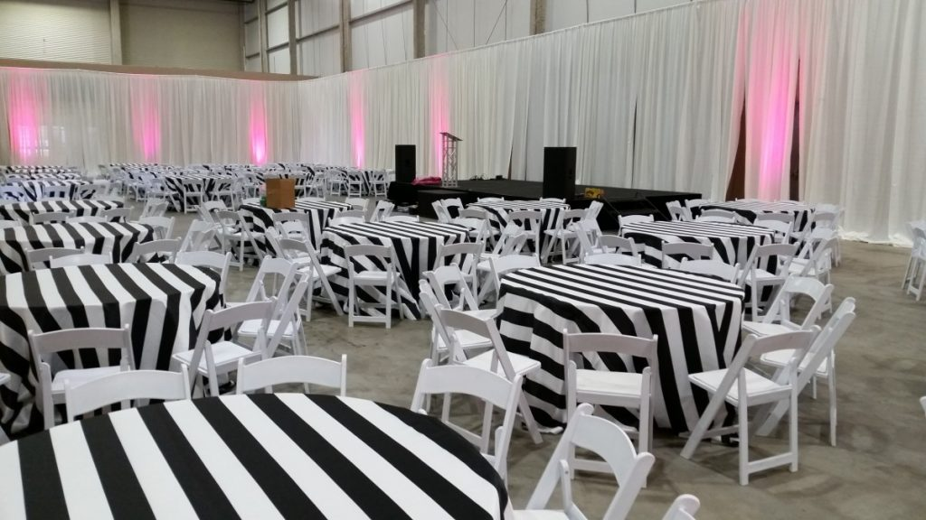 """Black & White Striped Linens with White Folding Chairs - 3"""""""
