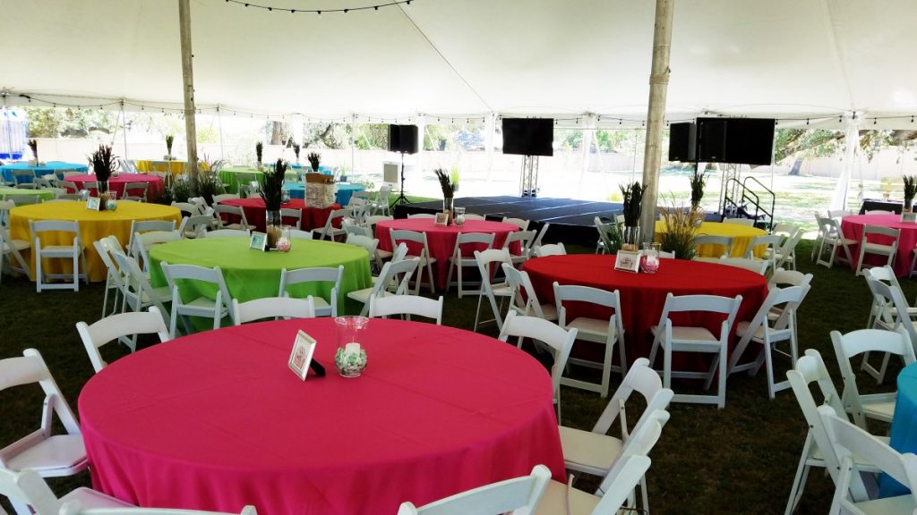 Fiesta Colors in Polyester Fabric with White Folding Chairs