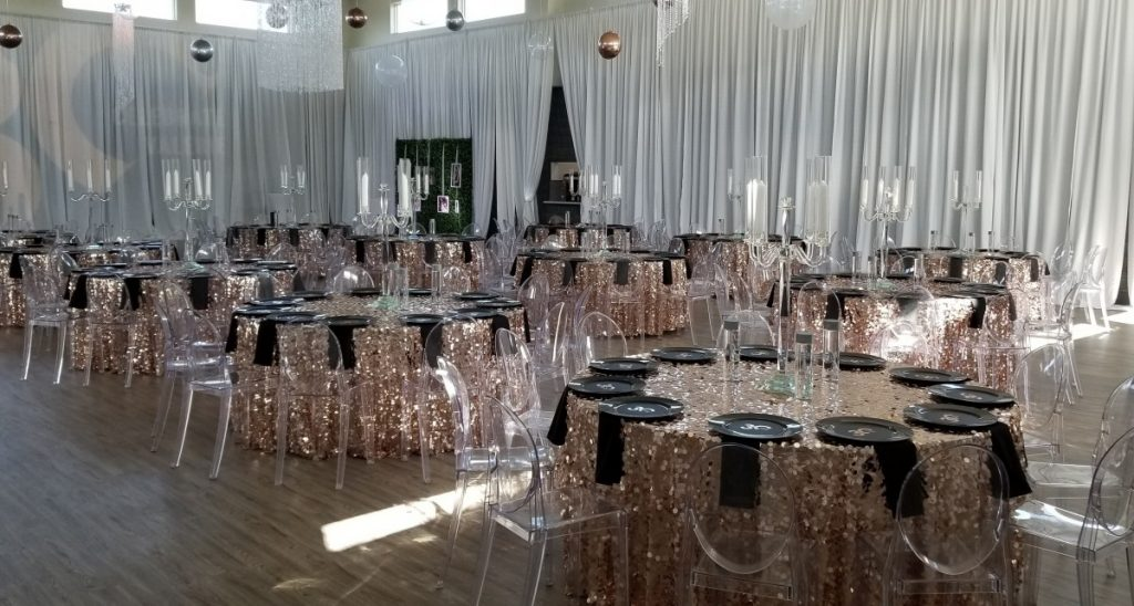Rose Gold Payette with Ghost Chairs