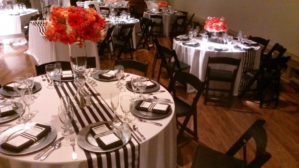 """Black & White Striped Runners on Round Tables - 1"""""""