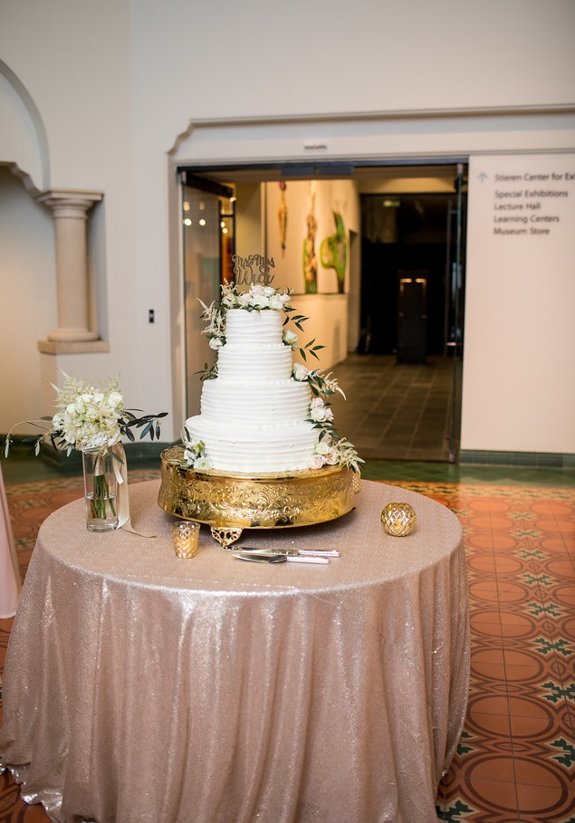 Matte Blush Sequin Linens on Cake Table