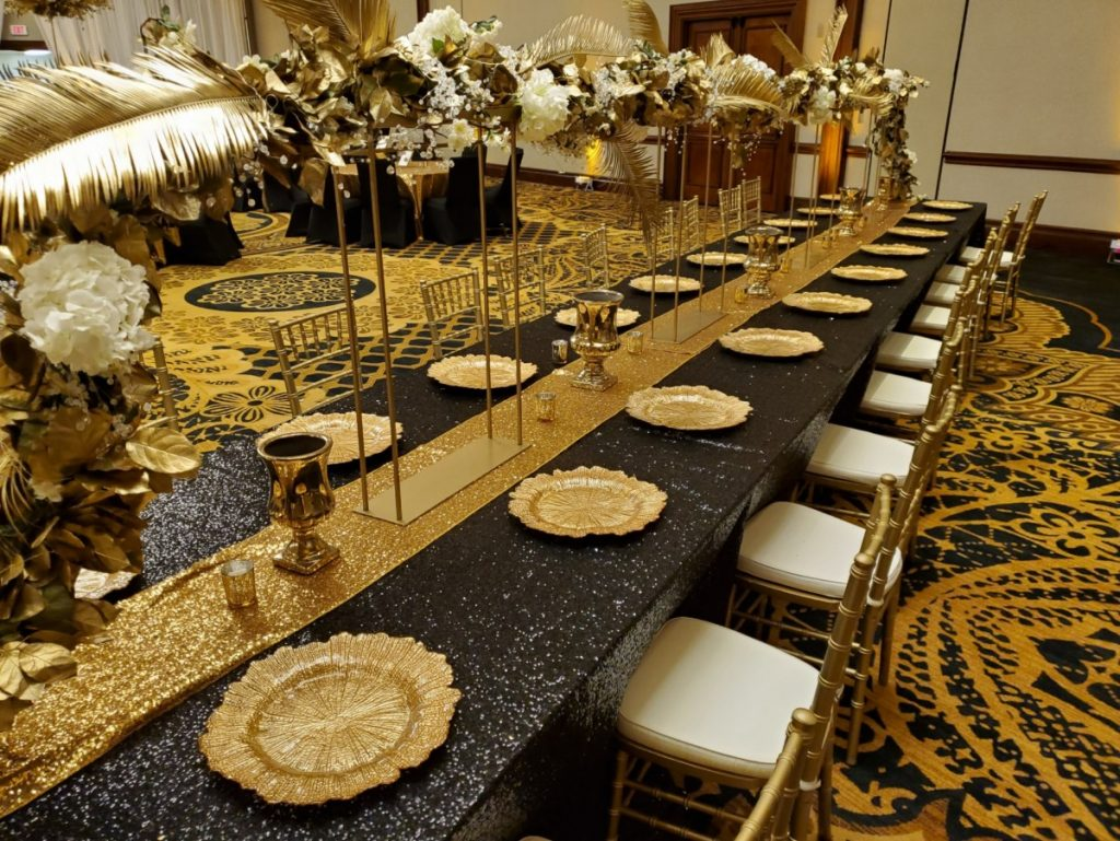 Black Sequin Tablecloth with Amber Gold Sequin Runner