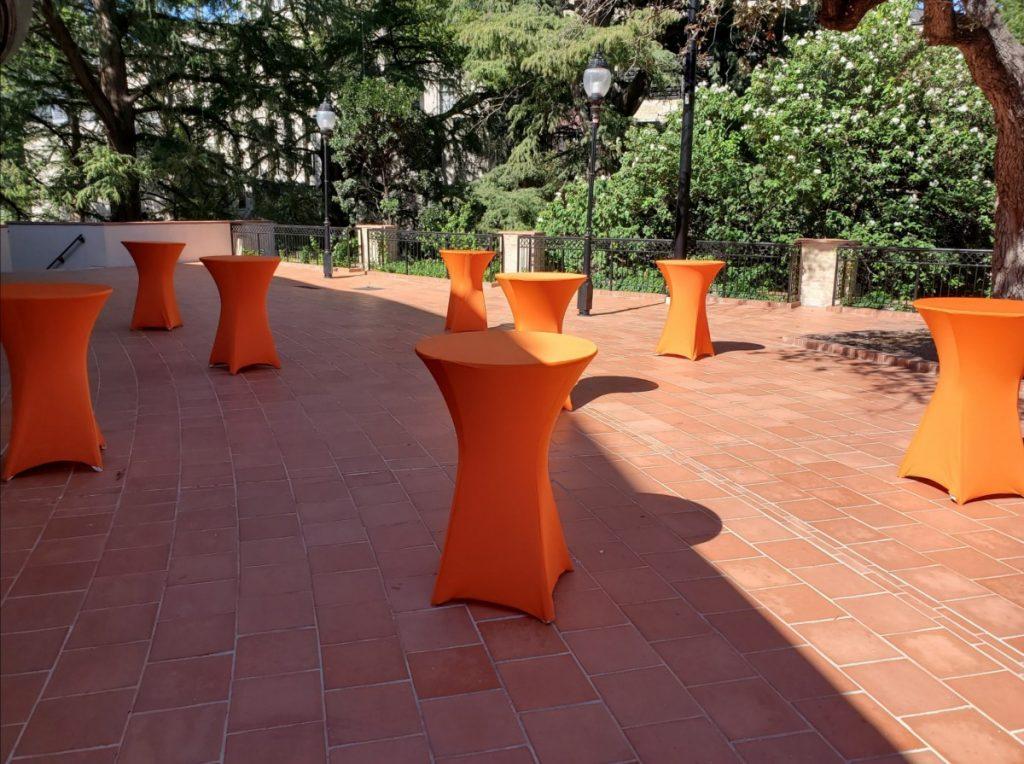 Orange Spandex Cocktail Table