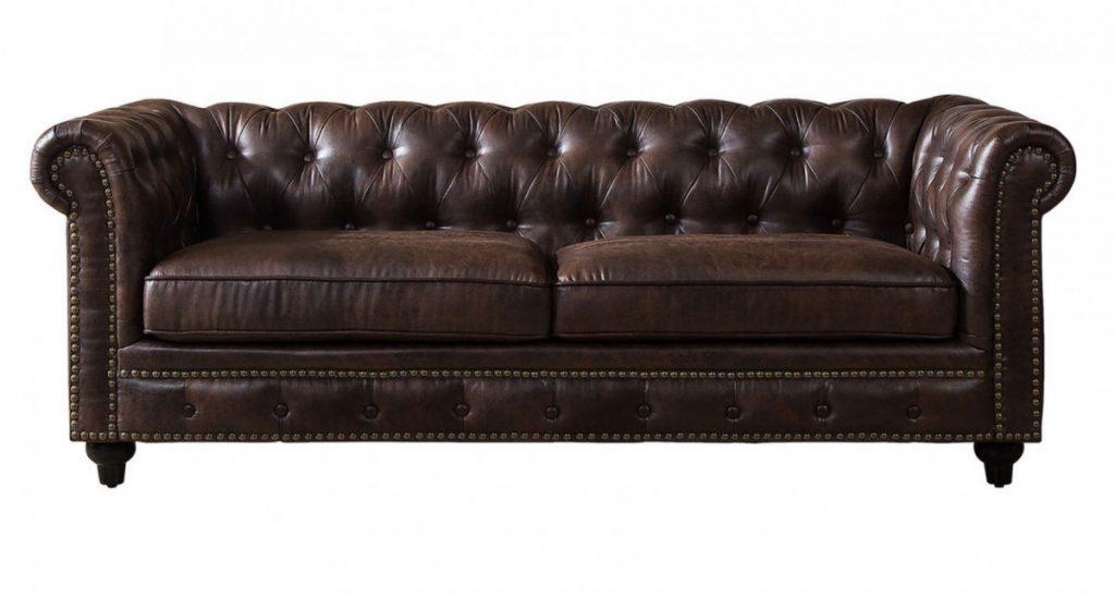 Brown Leather Lounge Sofa