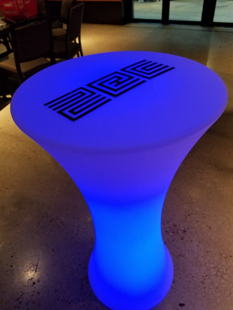 Hourglass LED Cocktail Table with Logo