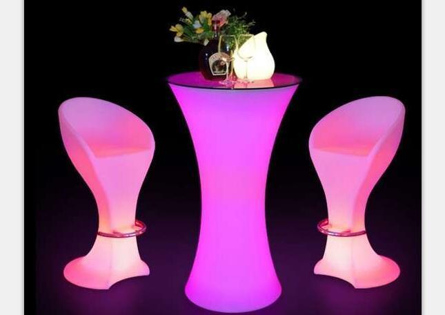 Hourglass LED Cocktail Tables with LED Barstools