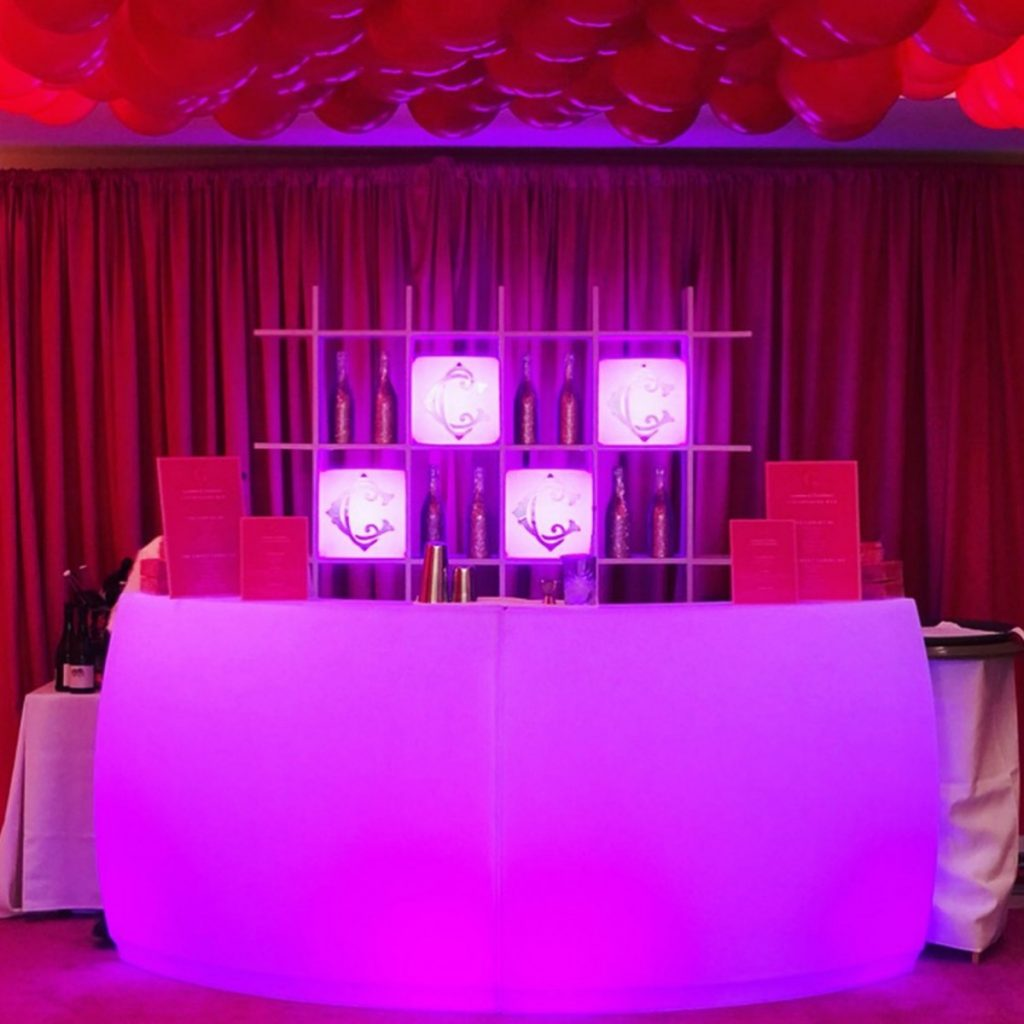 LED Bar with Bar Back (Lighted with LED Cubes)