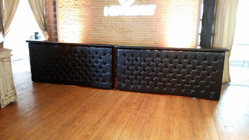 Black Leather Tufted Bars