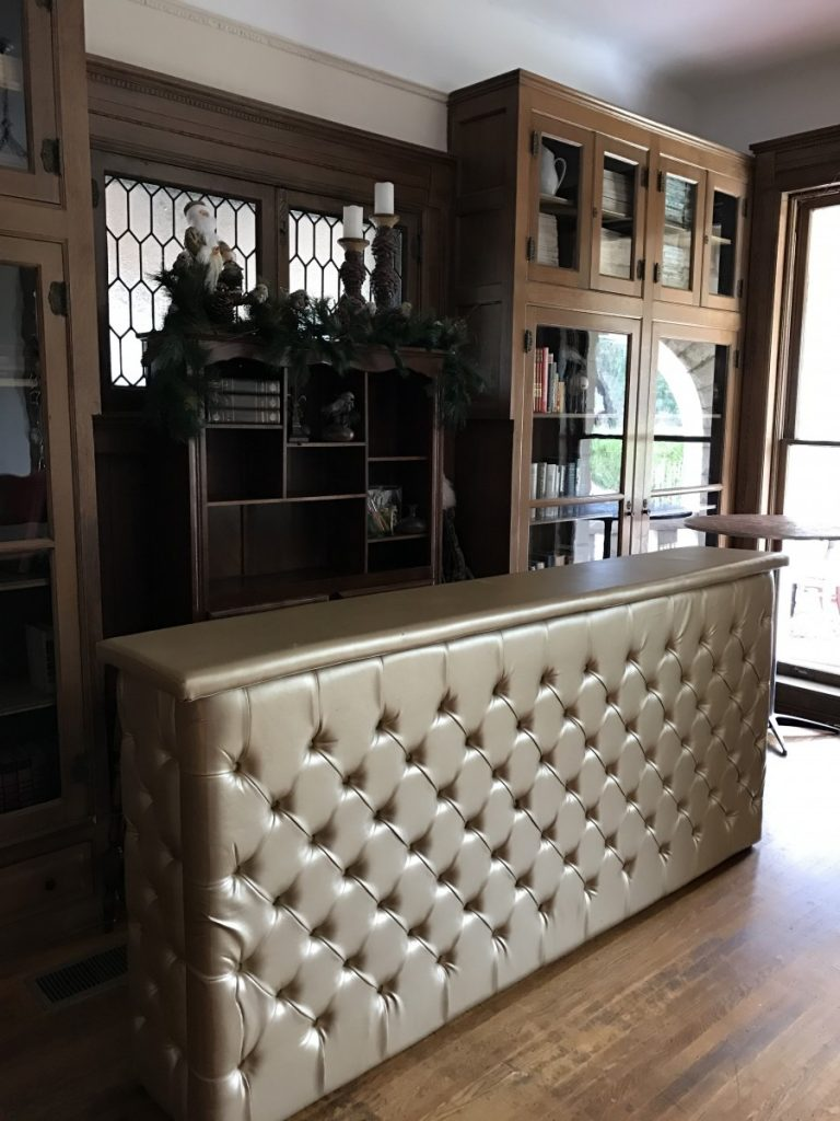 Silver Leather Tufted Bar