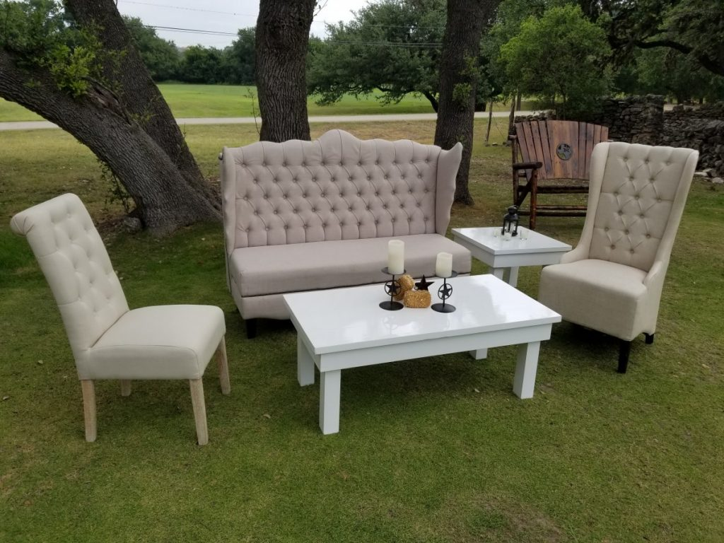 Natural Linen Lounge Set with White Coffee Table