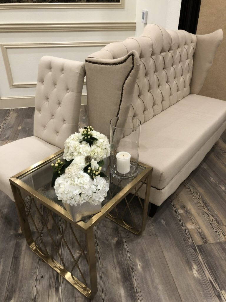 Natural Linen Sofa with Chair with Gold Glass End Table