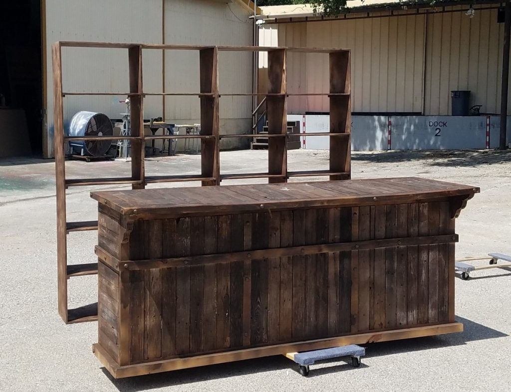 Wooden Reclaimed Bar with Bar Back