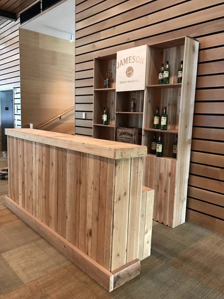 Wooden Picketed Bar with Custom-Made Bar-Back