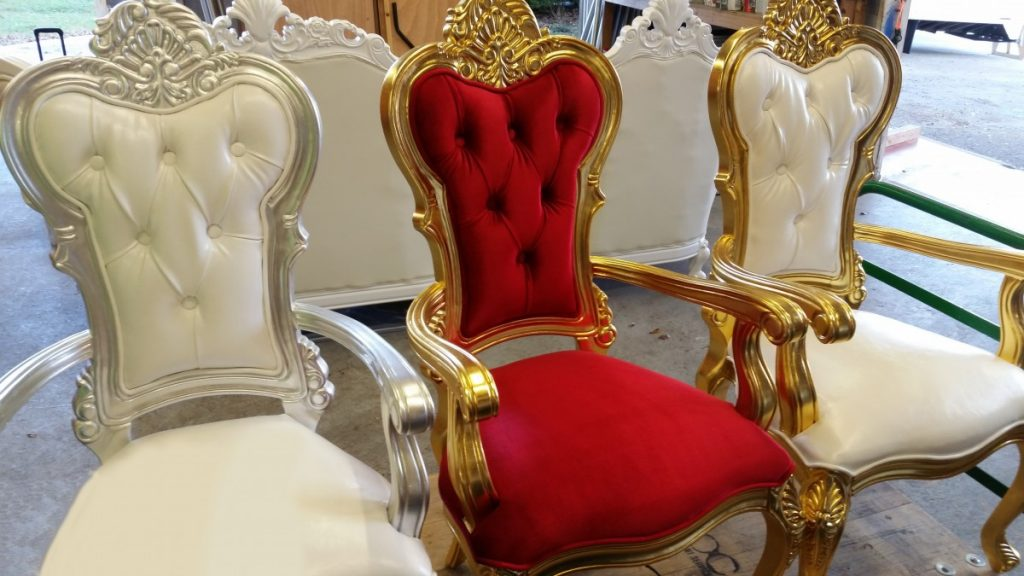Specialty Lounge Furniture - King's Chairs featured in Red/Gold, White/Silver, & White/Gold