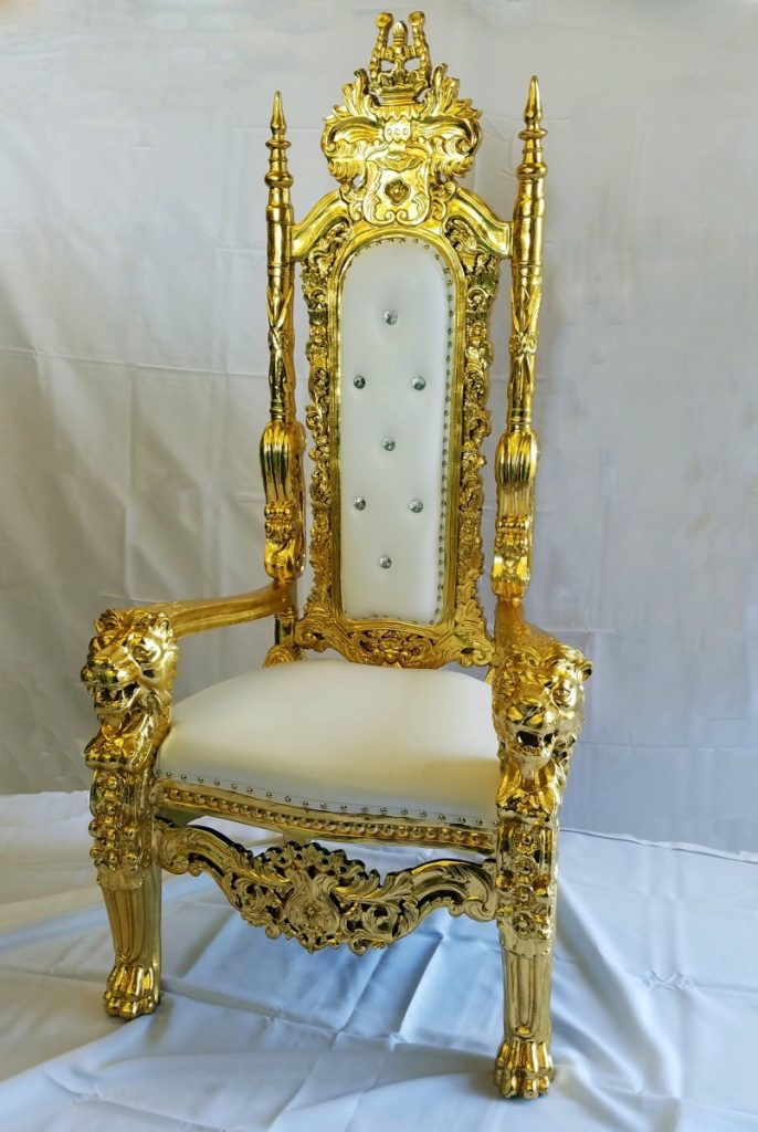 Specialty Lounge Furniture - White/Gold Throne Chair
