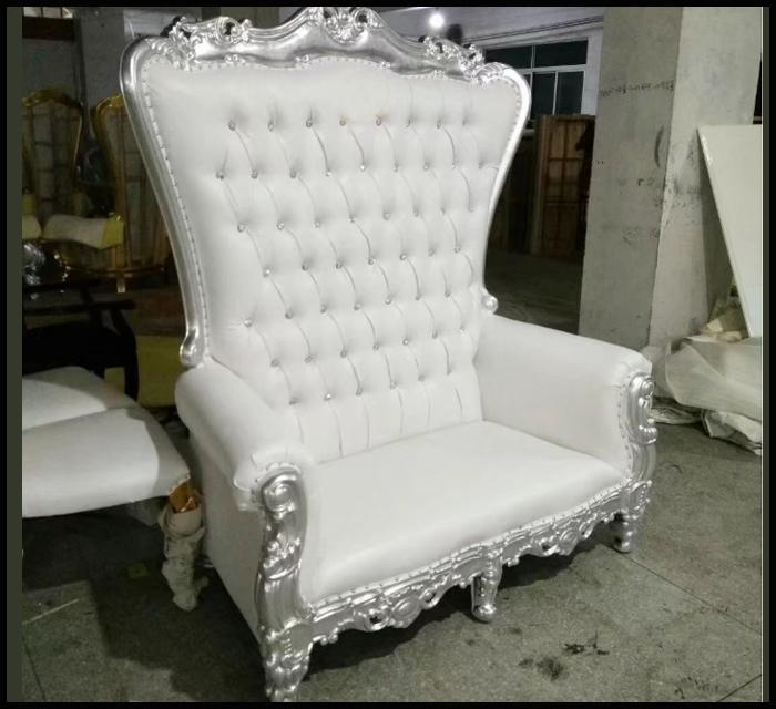 White & Silver Royalty Sofa