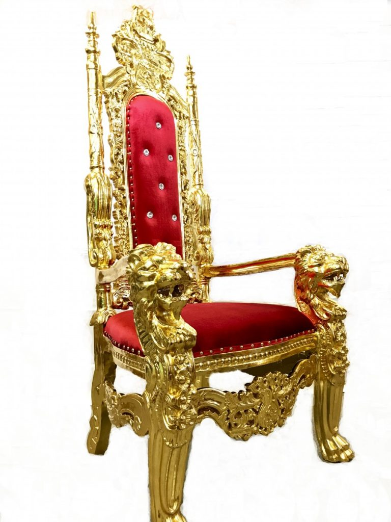 Specialty Lounge Furniture - Red/Gold Throne Chair