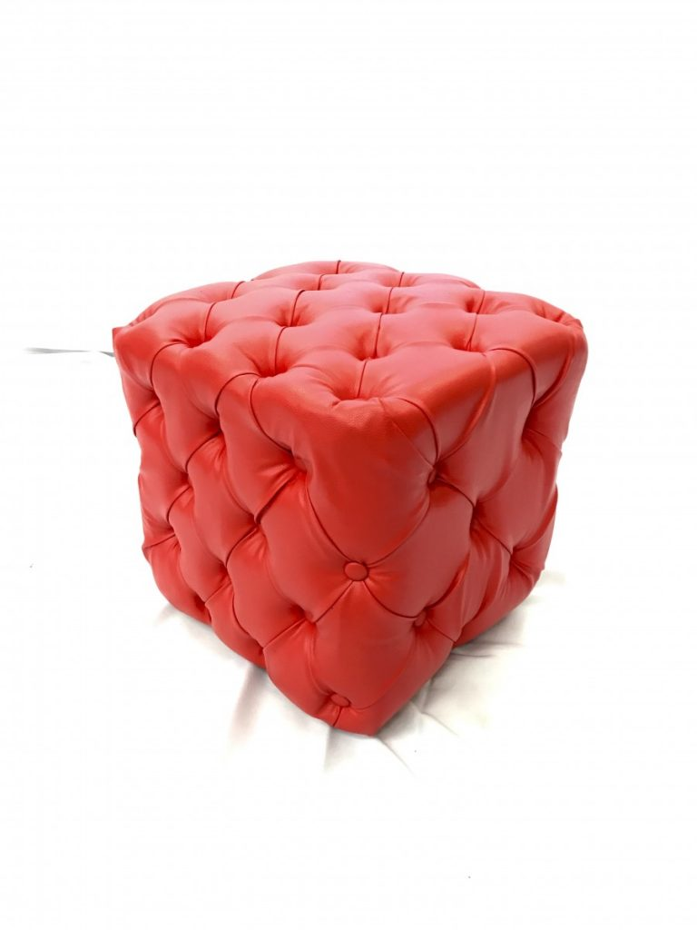 Red Tufted Square Ottoman - Small