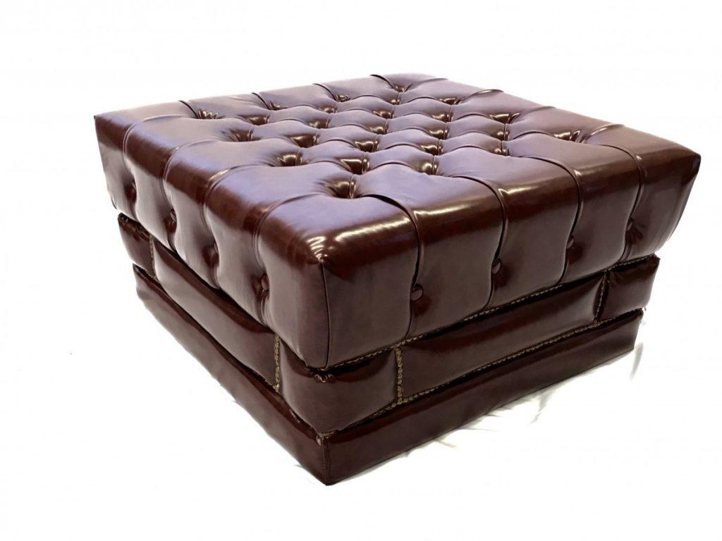 Ottoman - Brown Leather w/ Brass Studs