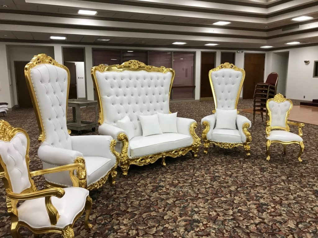 Specialty Lounge Furniture - Royalty Loveseat surrounded by 2 Royalty Chairs by 2 King's Chairs