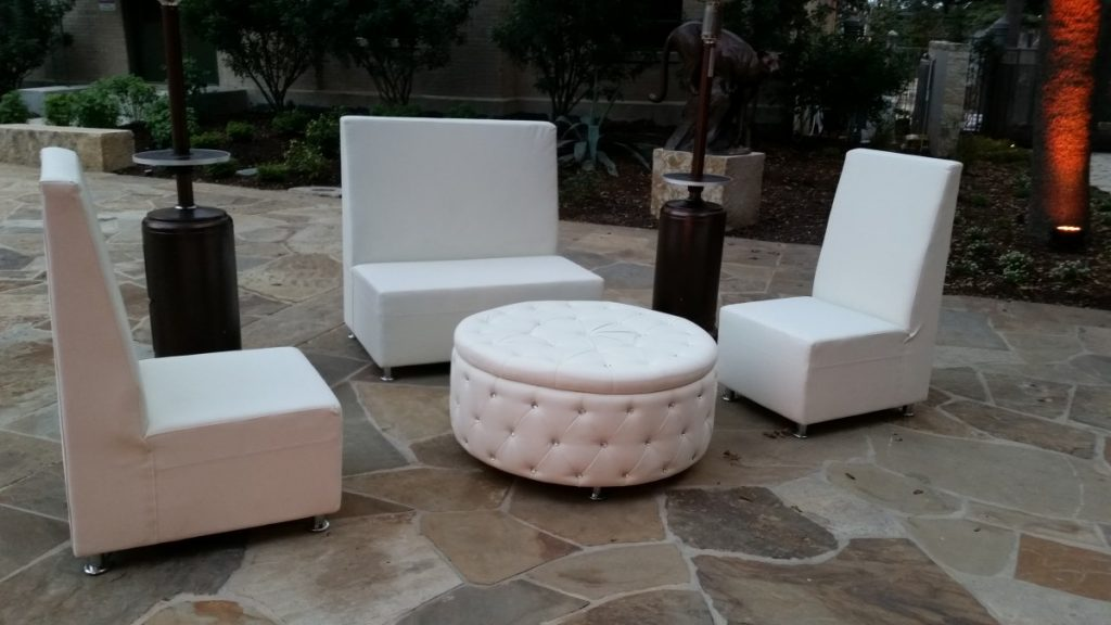 High Back Sofa & Chairs with Round Tufted Ottoman