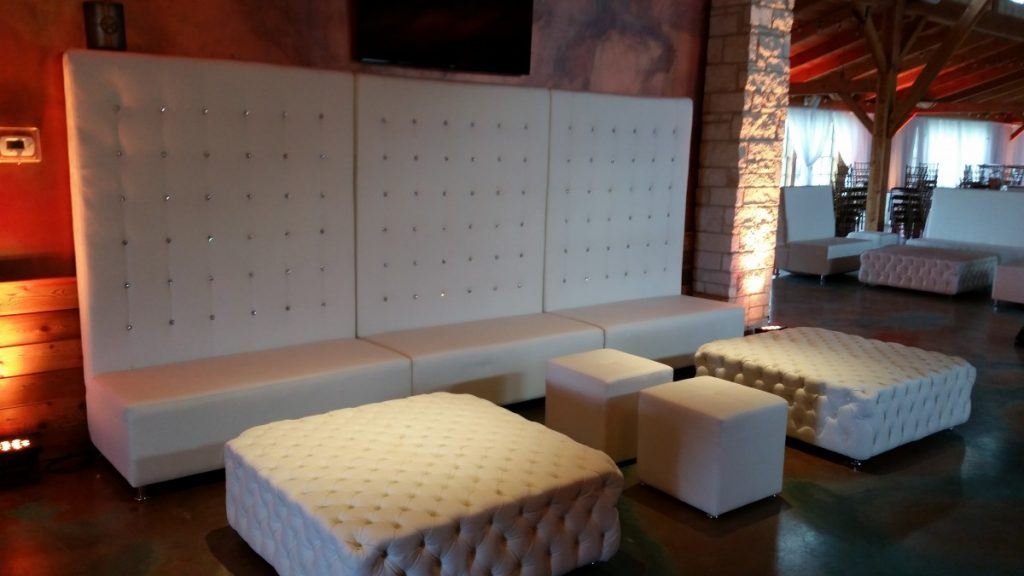 3 High Back Banquette Sofas, 2 Tufted Ottomans with 2 Small Square Ottomans