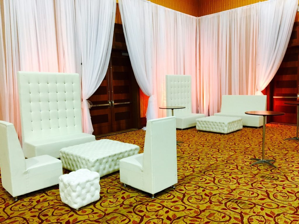 High Back Banquette Sofa, Two High Back Chairs, Large Tufted Ottoman, & Small Tufted End Table