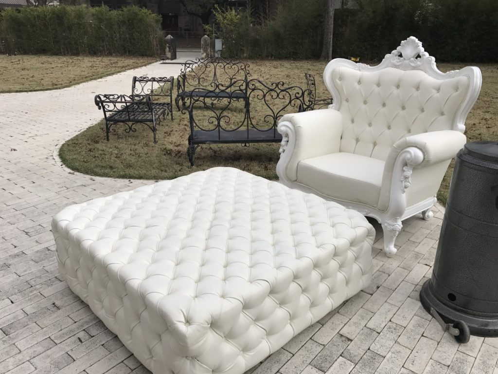 Queen Anne Chair with Tufted Ottoman
