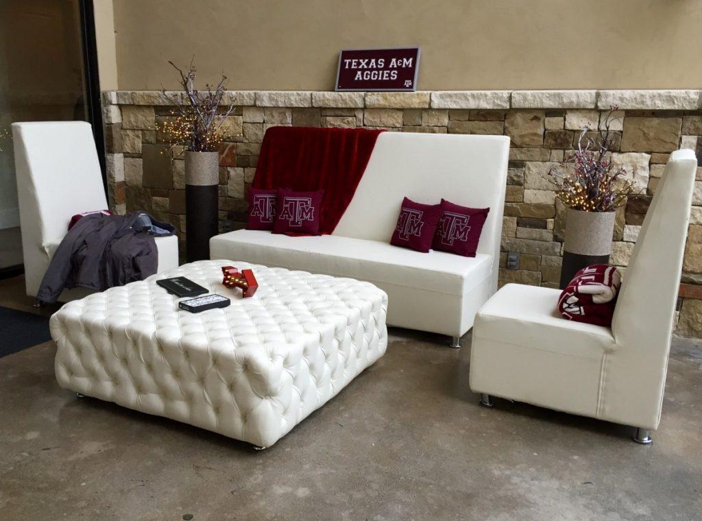 Modern High Back Sofa, Modern High Back Chairs, & Tufted Ottoman