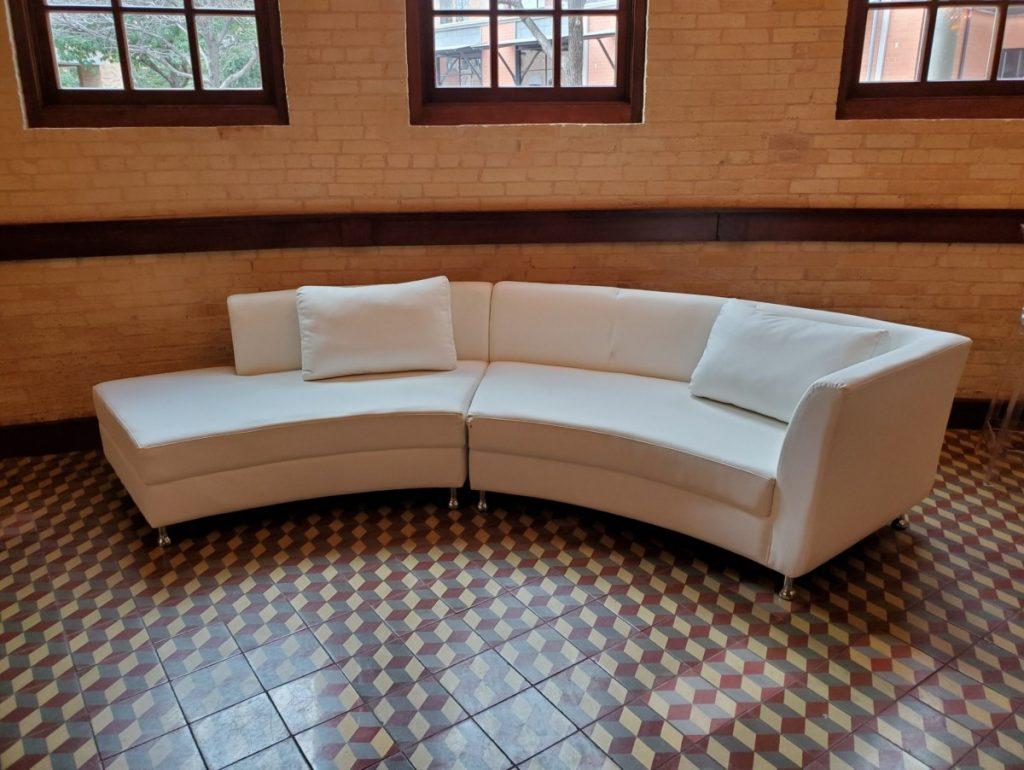 White Leather Lounge Set