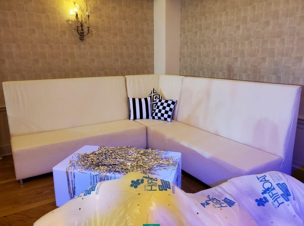 3 Piece Lounge Set - White Leather