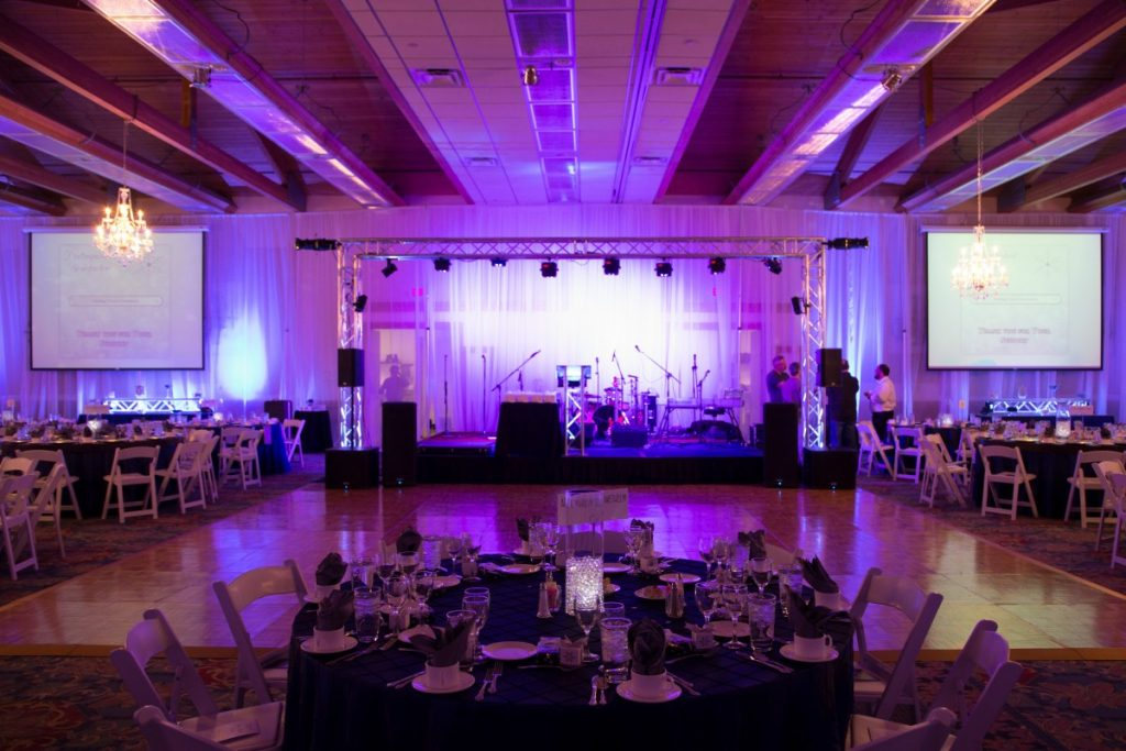 Truss Lighted Staging with Drape Backdrop