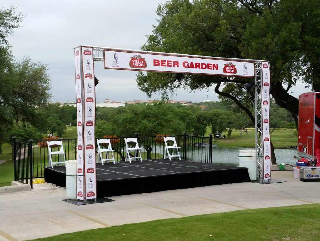 """Staging with Trussing at TASTE of Northside event - 12' D x 16' W - 16"""" Height"""