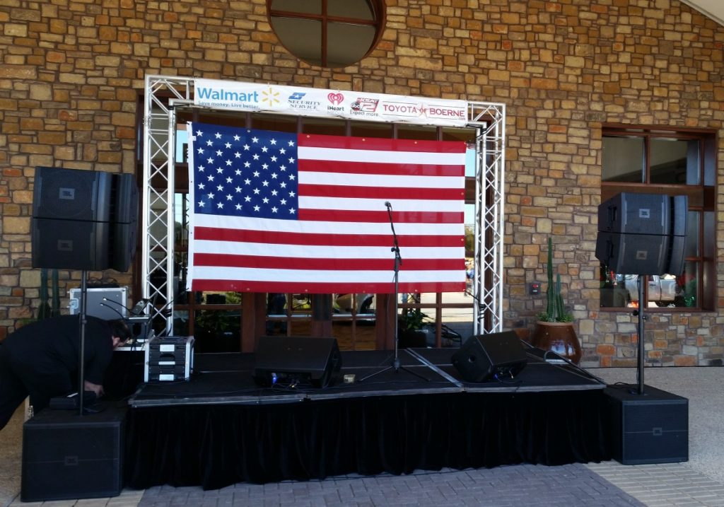 """Standard Staging with Trussing with Speaker Systems - 8' D x 12' W - 24"""" Height"""