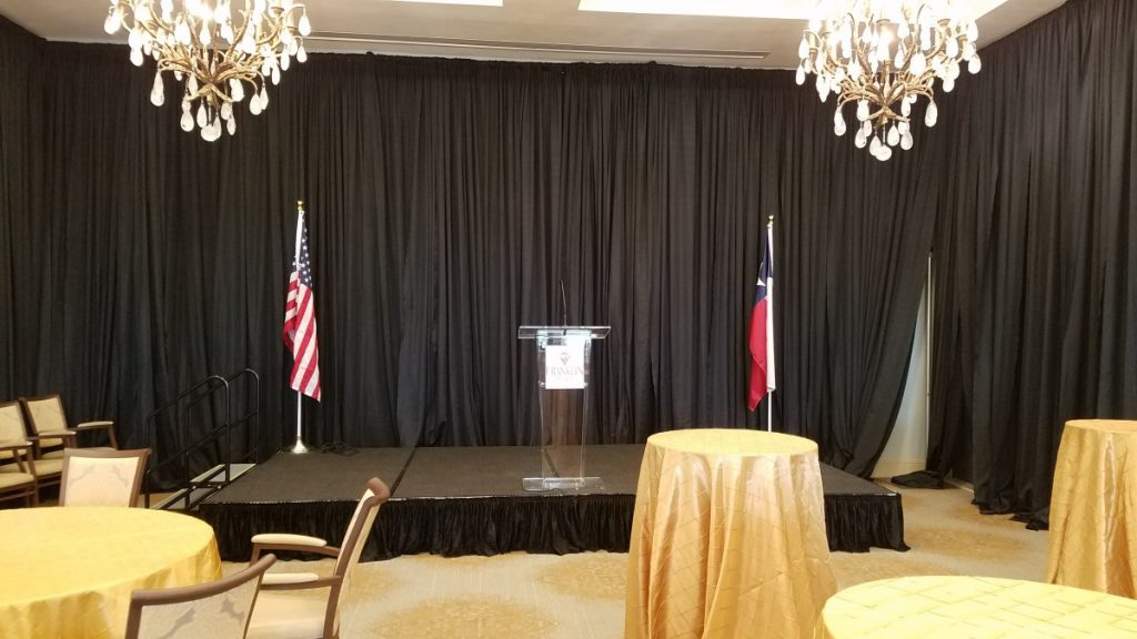 Standard Skirted Staging with Clear Acrylic Podium - 12' W x 8' D