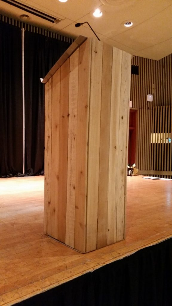 Wooden Picketed Podium with Goose-Neck Microphone