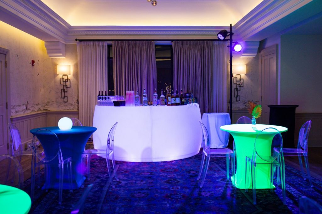 Bistro Tables with Spandex Covers - Ghost Chairs - Black Lighting - LED Bar